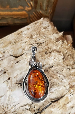 Art Nouveau Amber Pendant