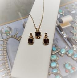 Garnet Pendant & Earrings Set