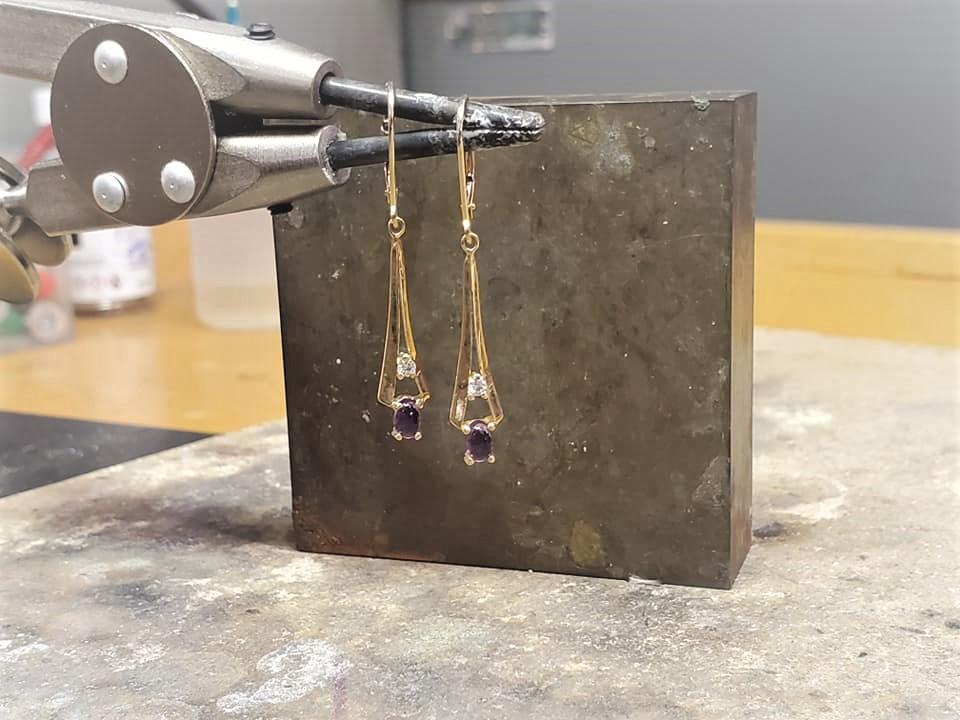 Amethyst & Diamond Drop