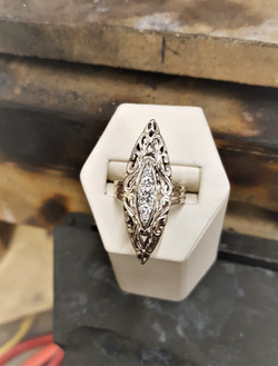 Navette Filigree with Diamonds