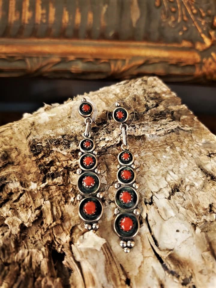 M Boone Coral Dangle Earrings
