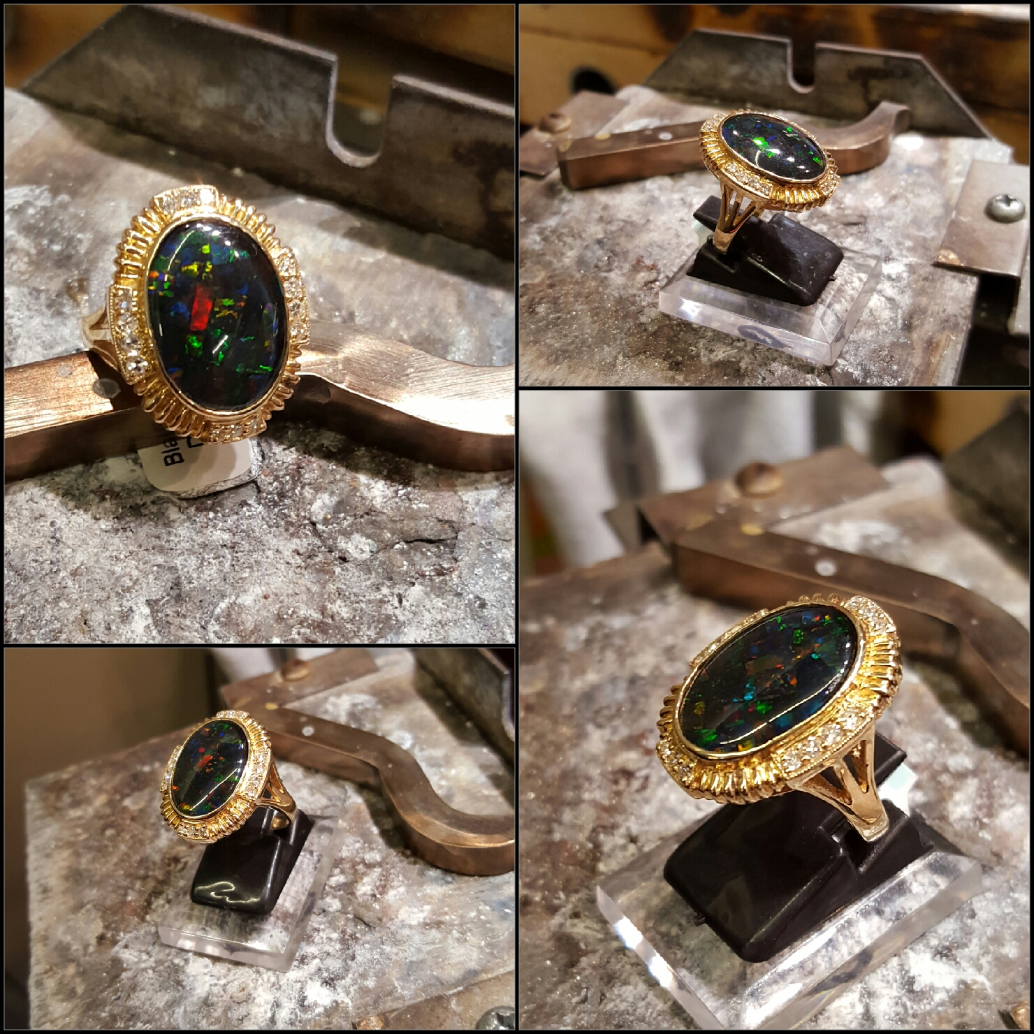 Black Opal with Diamonds