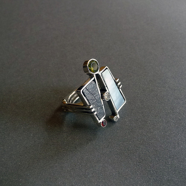 MOP Slate & Gemstone Ring