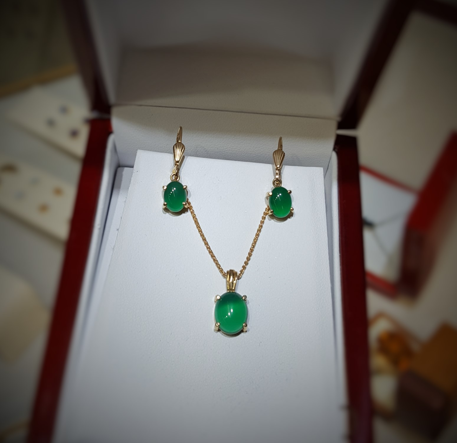 Chrysoprase Pendant & Earrings Set