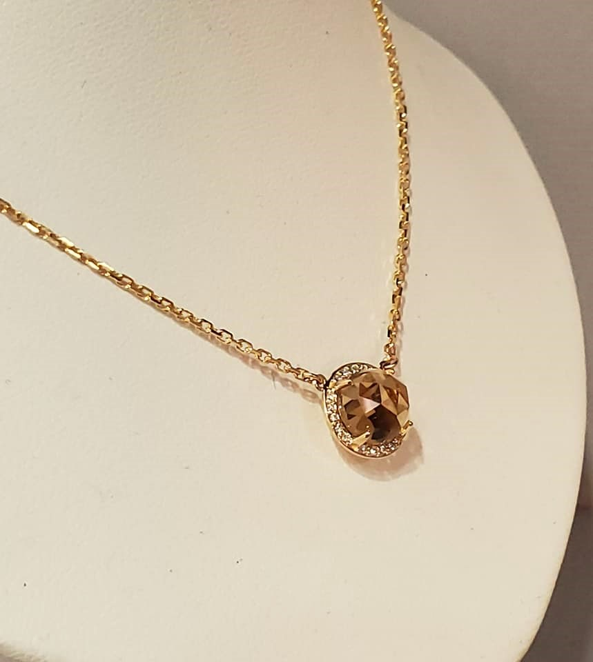 Rose Cut Citrine & Diamond