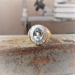 Aquamarine & .50ctw Diamonds