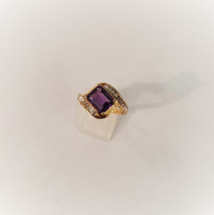 Amethyst .75ctw Baguette Diamonds