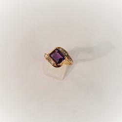 Amethyst .75ctw Baguette Diamonds
