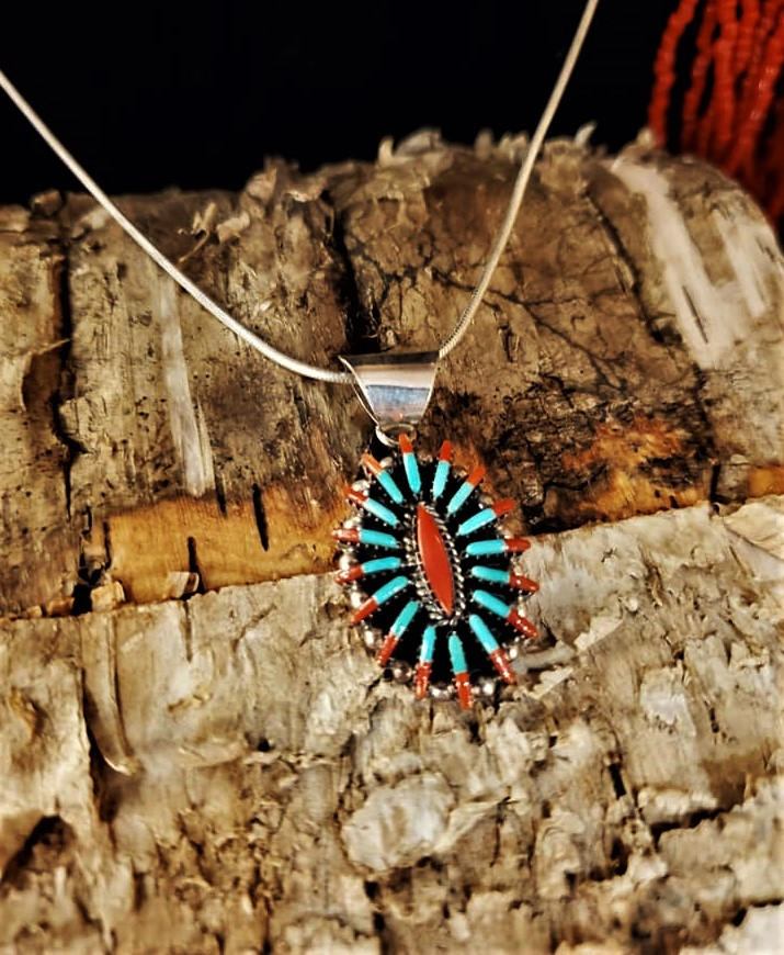 Ed Cooyate Coral & Turquoise Pendant