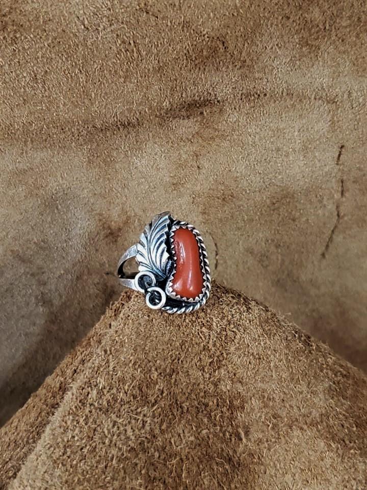 Navajo Justin Morris Coral Ring