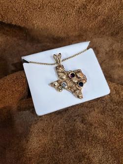 State of Texas Pendant Diamond Sapphire Ruby