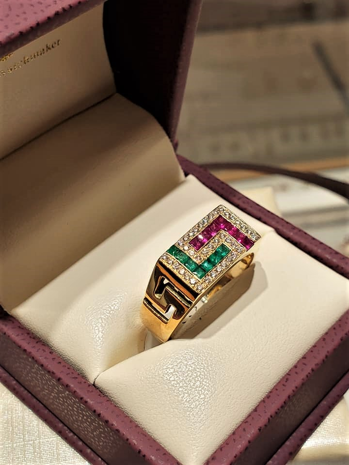 Emeralds Rubies & Diamonds Greek Key Design