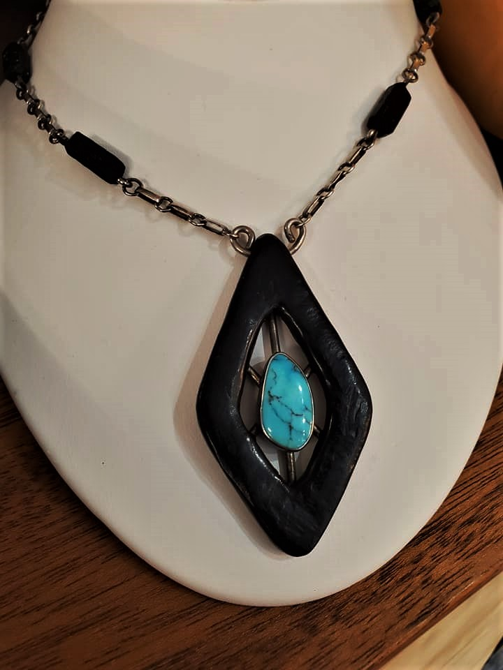 Navajo Carved Jet & Turquoise Necklace