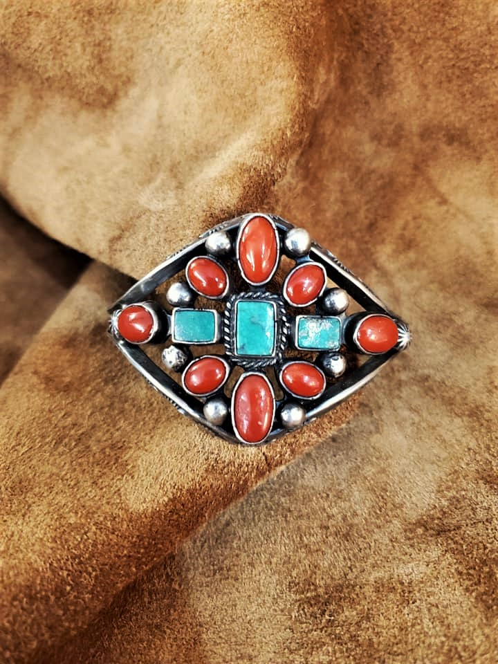 1950s Turquoise Coral Cuff Bracelet