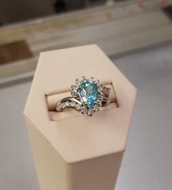 2.11ct Blue Zircon 1ctw Diamond
