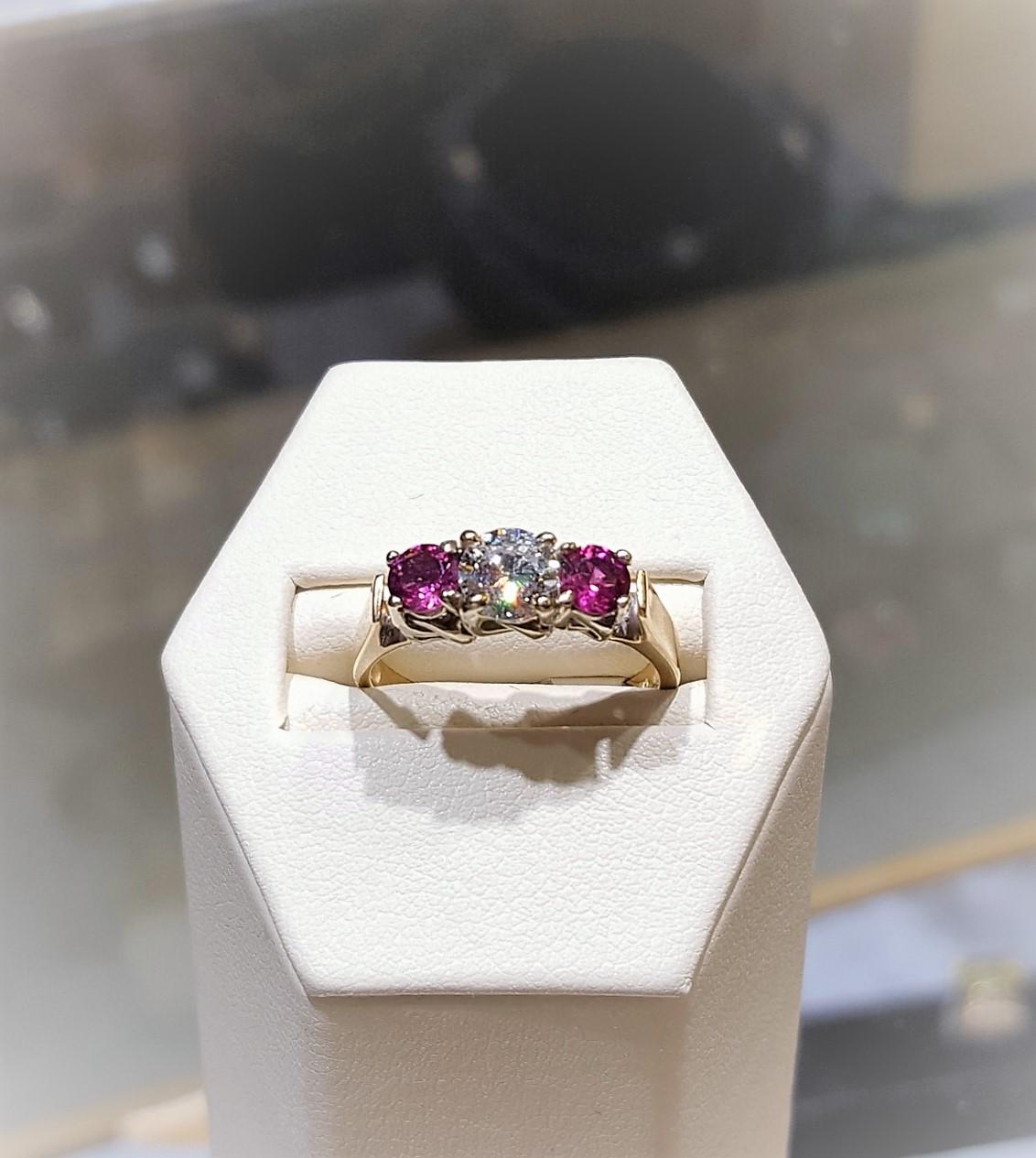 .56ct Diamond .40ctw Tourmalines