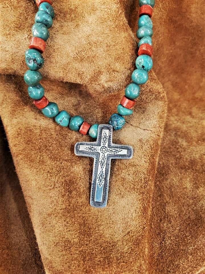Signed Navajo Turquoise CrossNecklace