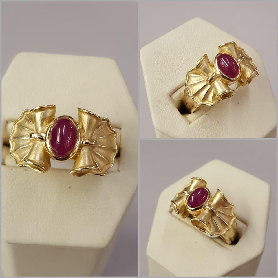 Ruby Cabochon Retro Ring