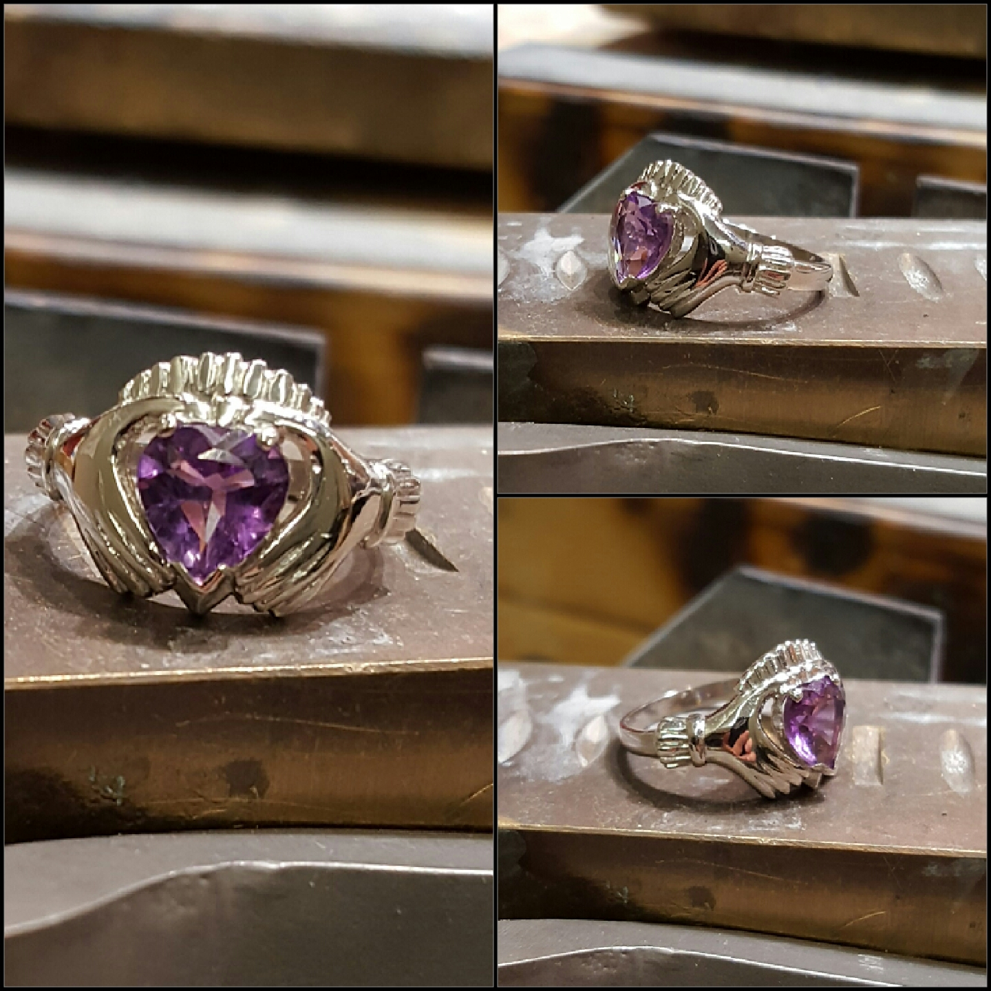 Irish Claddagh with Heart Amethyst
