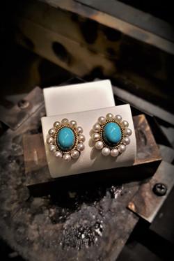 Turquoise & Pearl Earrings