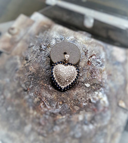 Diamond Pave Heart with Sapphires