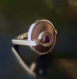 Distressed Copper & Amethyst Ring
