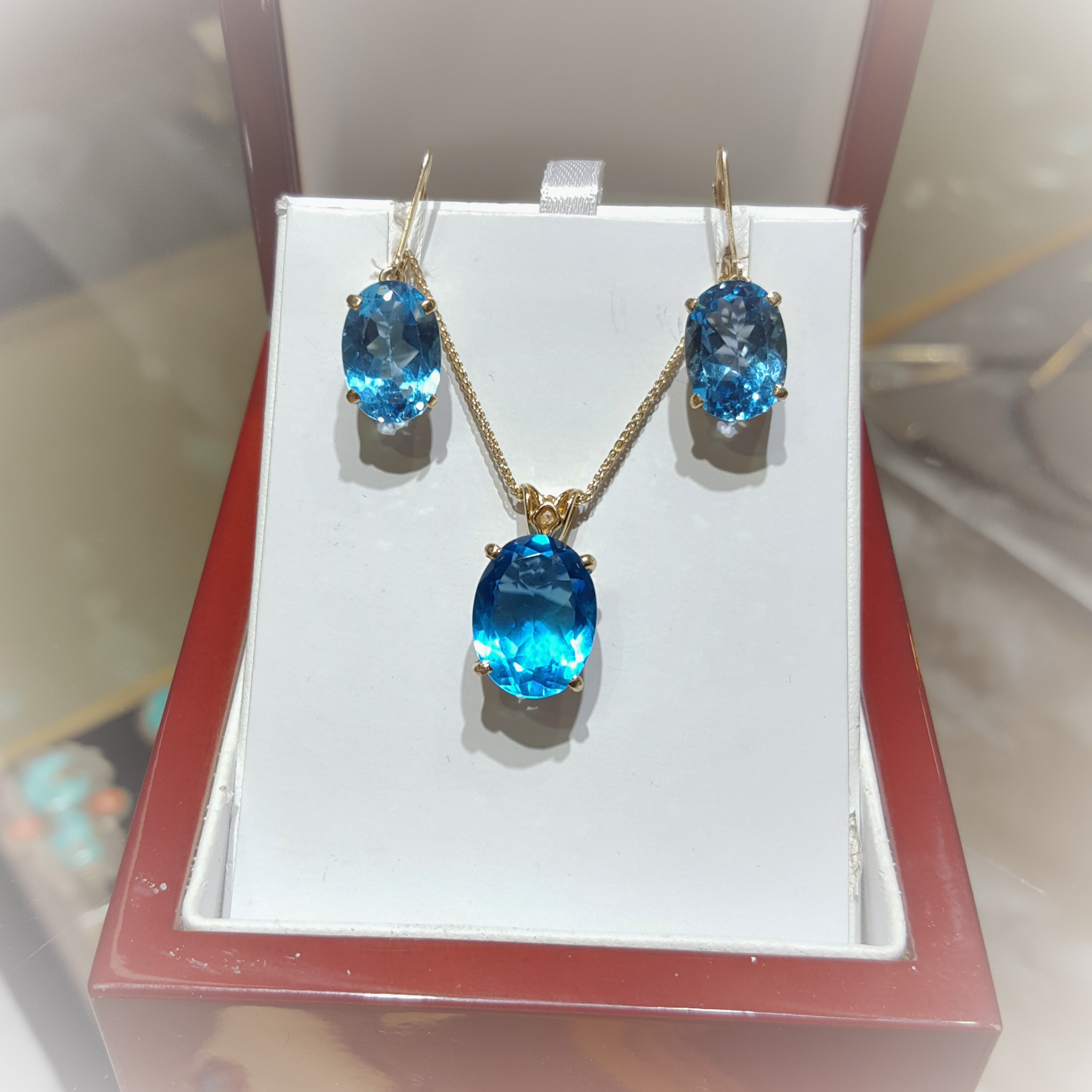 Swiss Blue Topaz Pendant Earring Set