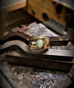 Australian White Opal & Diamond