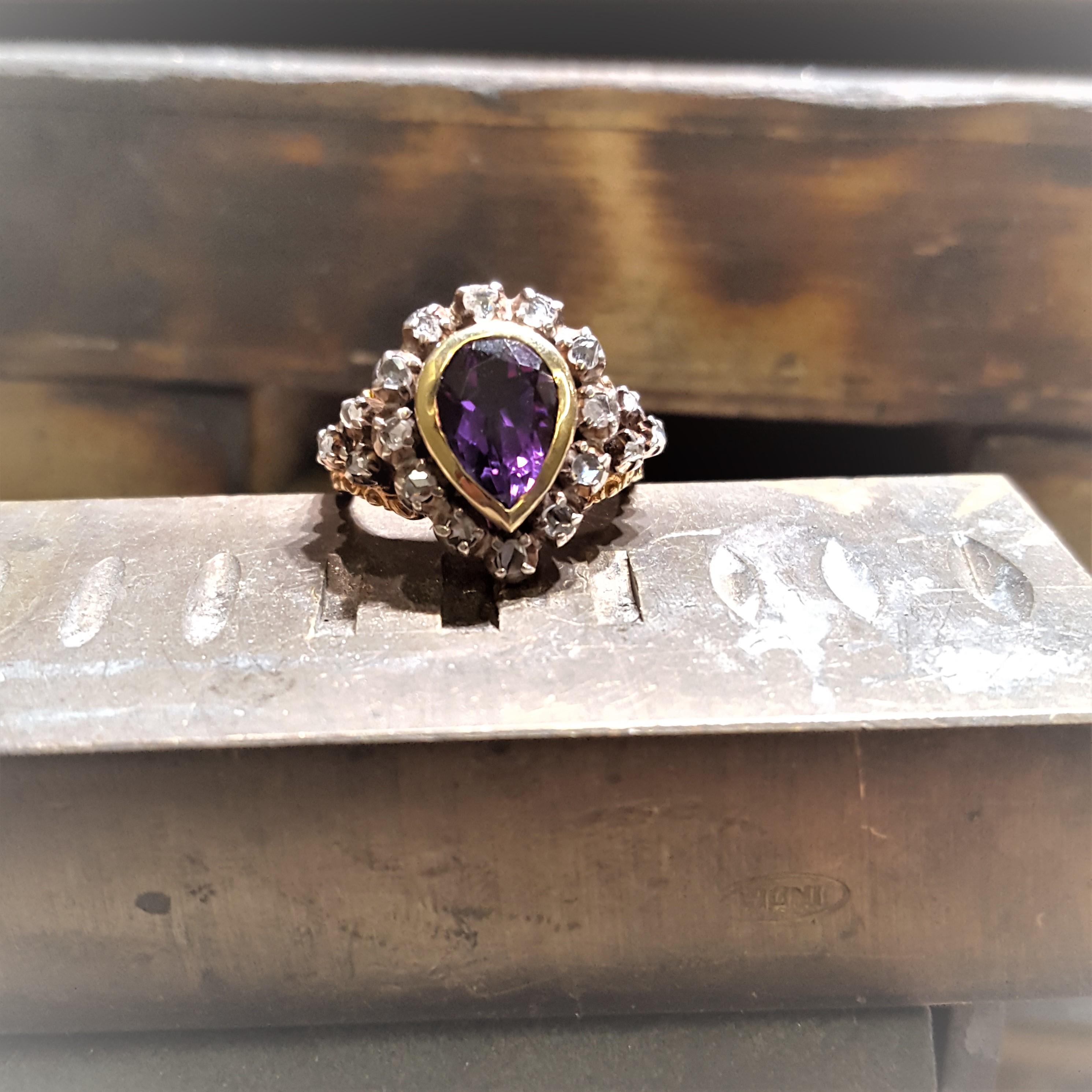 1880s Pear Amethyst & Diamonds