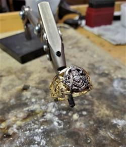 Masonic Ring 14kt Gold Diamond
