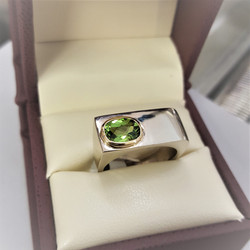 Peridot Bar Style Ring