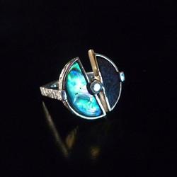 Distressed Copper Paua Shell Ring