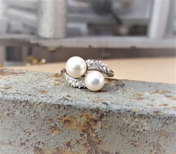 Cultured Pearl Diamond By-Pass Ring