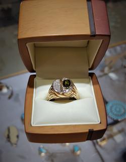 Green Tourmaline .50ctw Pave Diamond