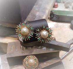 10mm Pearl & Emerald Earrings