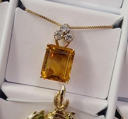 14x12mm Citrine .50ctw Diamonds