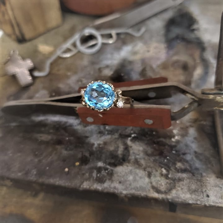 Swiss Blue Topaz with Diamonds