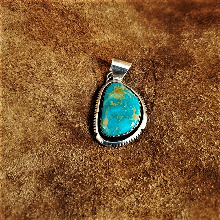 Signed PM Turquoise Pendant