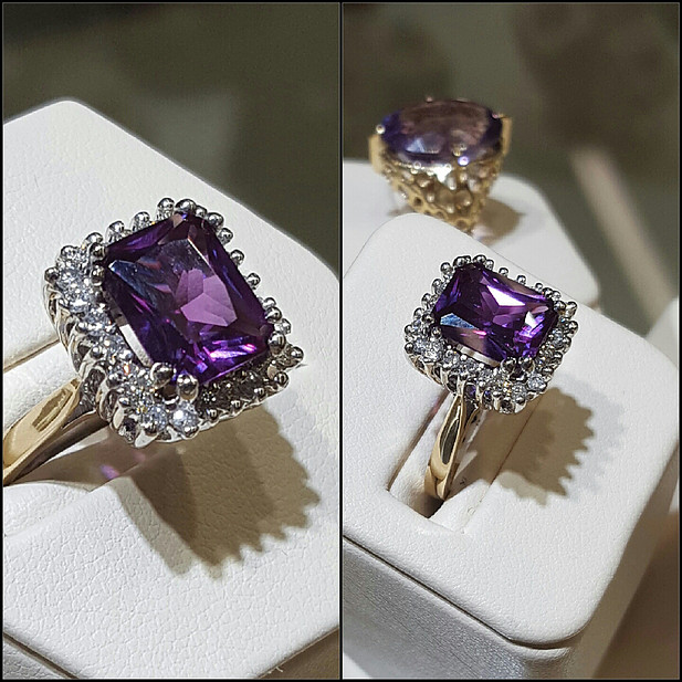 Gem Quality Amethyst Diamond Halo