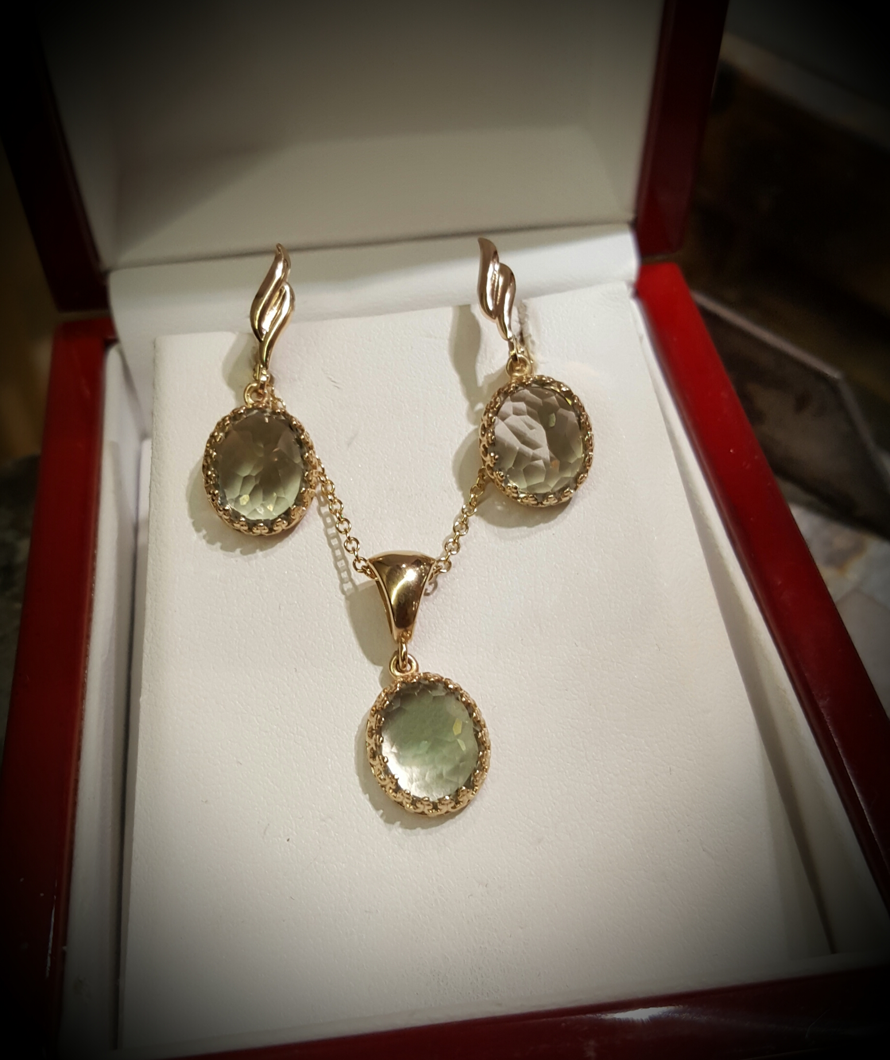 Prasiolite Pendant & Earrings