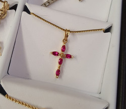 Ruby Marquise Cross Pendant