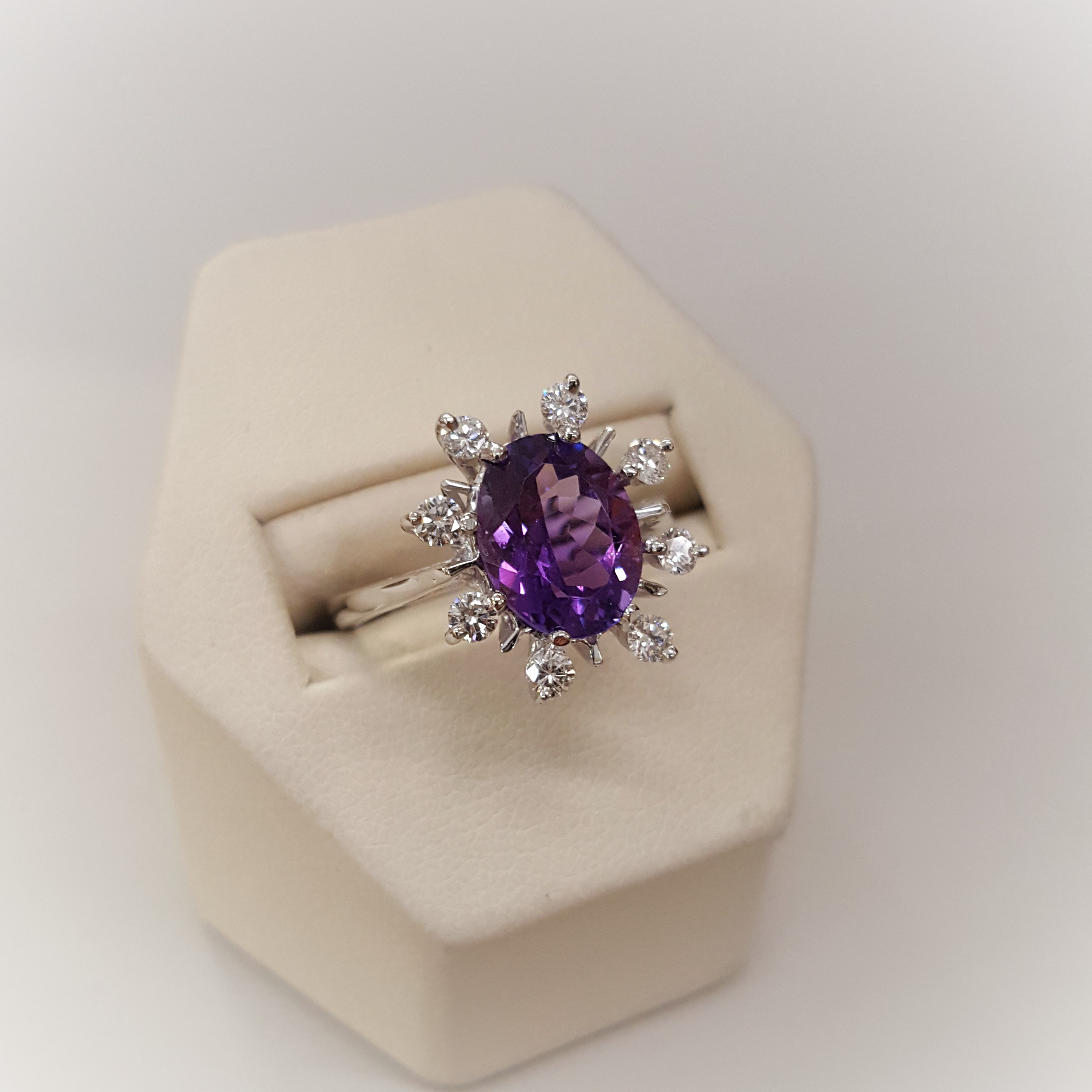 Amethyst with .40ctw Dimaond Halo