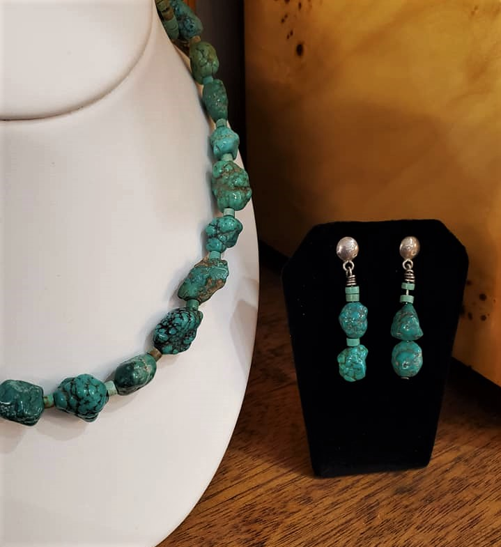 "24"" Turquoise Necklace Earrings Set"