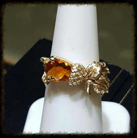 Pear Cut Citrine Acorn & Oak Leaf