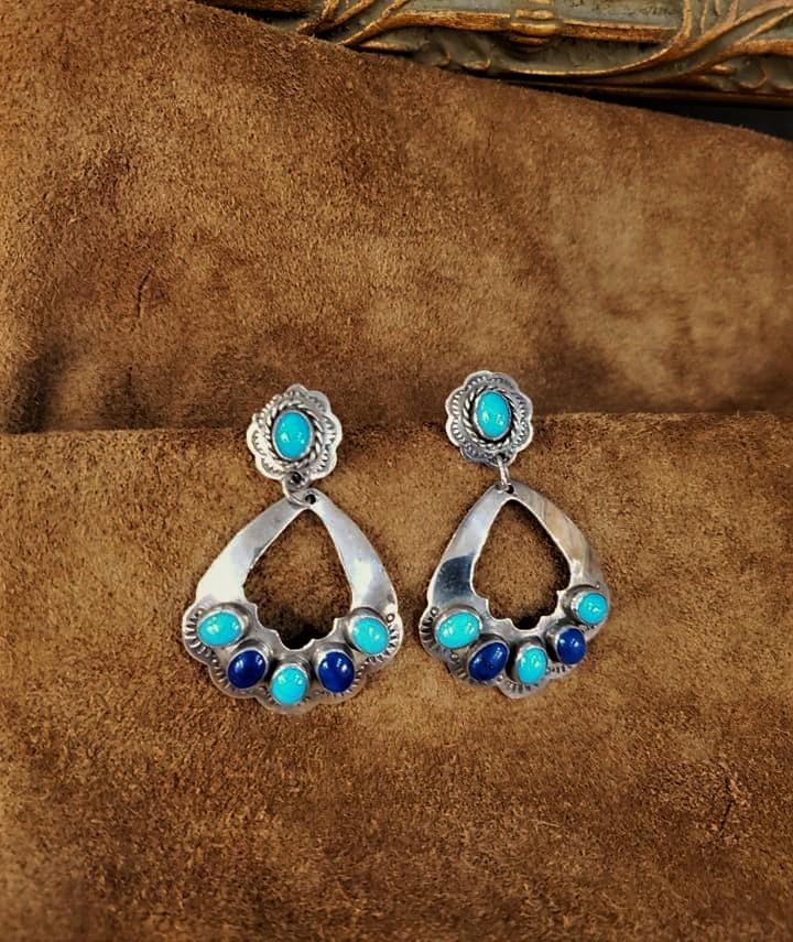 Navajo Yazzie Turquoise Lapis Earrings
