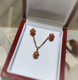 Coral Pendant & Earrings Set