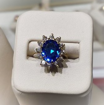 Blue Spinel with Diamond Halo