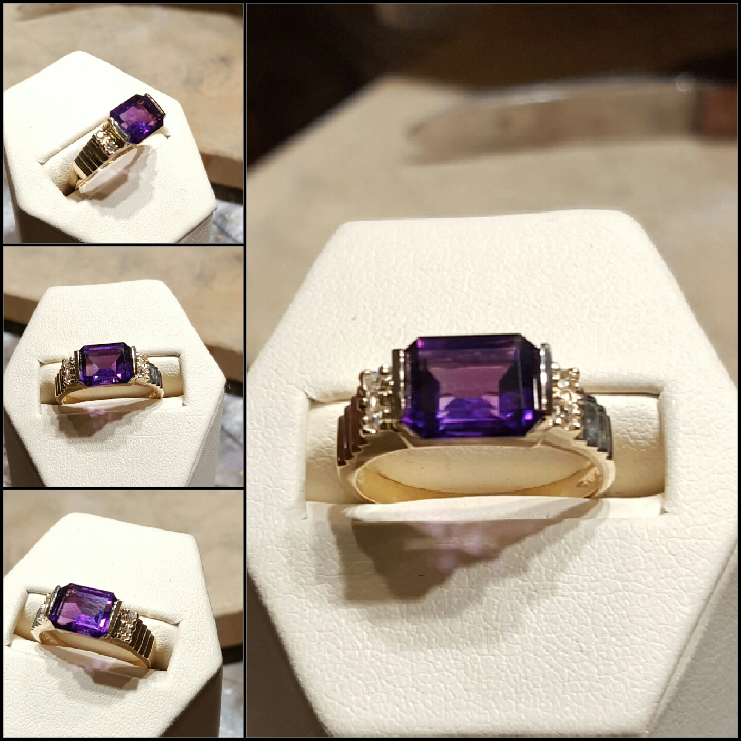 Amethyst .10ctw Diamonds