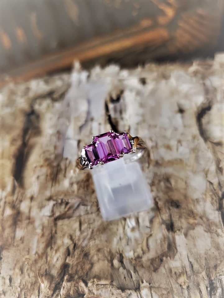 Lab Pink Sapphire Ring