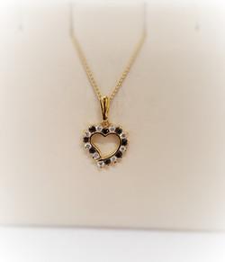 Sapphire & Diamond Heart Pendant